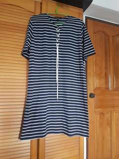 Striped tied shift dress