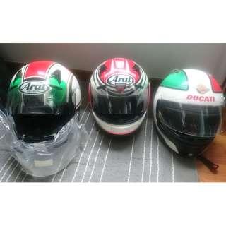 Helmets - Arai RX-Q Flag Series XL w/spare visor($400), Arai Astro IQ XL($300), Suomy Drudi Racing XL($250)