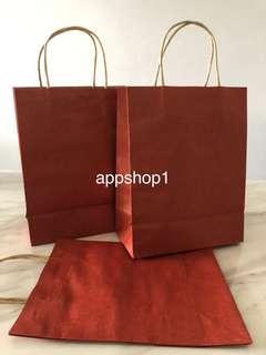 Red medium paper bag, Kraft bag - event goody bag, goodies bag packages, door gift bag