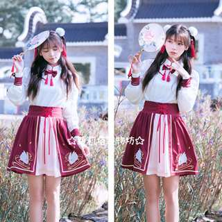 【蘿莉塔雜物坊】熊之 中華 漢風 俠女 小師妹 綁帶上衣 開襟半裙 帥氣 軟妹 月兔 刺繡 軟妹