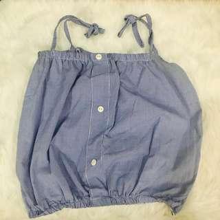 Blue tiny checkered sleeveless blouse