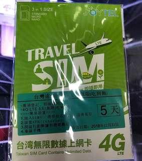 台灣遠傳5日上網卡