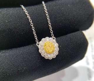 18K金黃鑽鑽石頸鏈吊墜