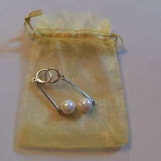 •brandnew• Silver Pearl Long Earrings