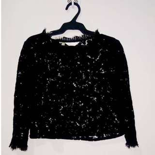 Black see through laced long sleeved top