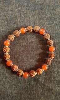 Rudraksha and Carnelian Beads Bracelet (Large)