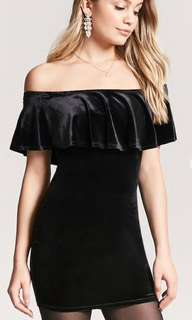 Forever 21 velvet black offshoulder dress