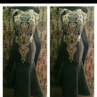 For  Rent - Battled or Emerald Green Long Gown with long tail at the back