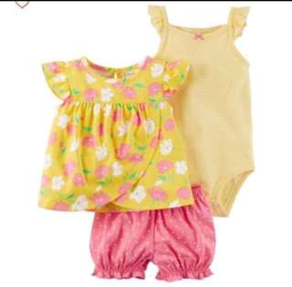 *12M* Brand New Carter's 3-Piece Bodysuit & Diaper Cover Set For Baby Girl