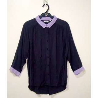 Uniqlo long-sleeved collared shirt for women's office wear