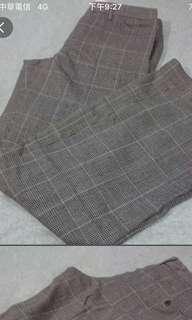 50%羊毛格紋西裝寬褲