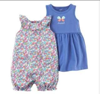 *12M* Brand New Carter's 3-Piece Dress & Romper Set For Baby Girl