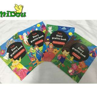 Children Educational Story Books / Learn books / Colouring book / Sticker book / 4 pcs / set