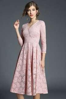 Long-Sleeve: Pink Autumn V-Neck Flouncing Lace Long Dress (S / M / L / XL / 2XL) - OA/DZD110729