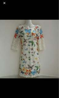 ⚀ ES•Dannuo White Crochet Lace Butterfly Print Swift Dress