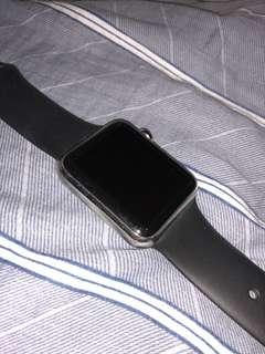 apple watch 第一代 不鏽鋼版本+黑色皮帶