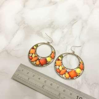 JAPAN KOREA Vintage Crystal Hoop Earrings 復古特大吊耳環