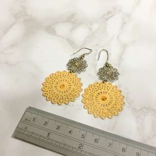 JAPAN KOREA Vintage Metal Crochet Hoop Earrings 復古特大鏤空吊耳環
