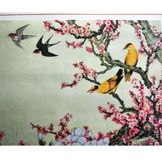 旧丝娟画日历,春色满园, Old silk painting calendar, Blooming Spring