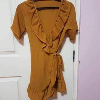 Mustard wrap up dress
