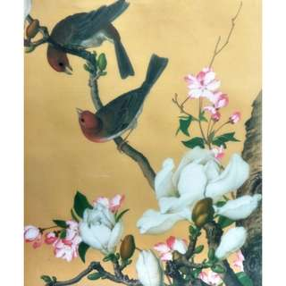旧丝娟画日历,郎世宁作品, Old silk painting calendar, Lang ShiNing artwork