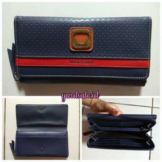 Milk teddy long wallet navy