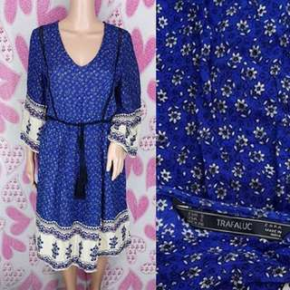 ZaraBlue Bohemian Midi Dress
