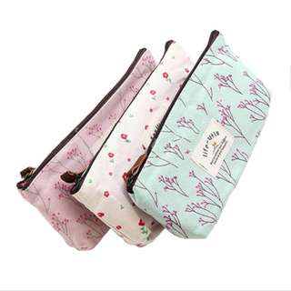 Floral Print Canvas Pencil Case with Lining