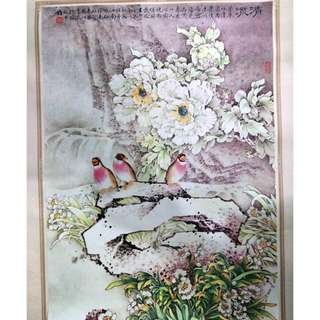 旧丝娟画日历 1,Old silk painting calendar 1