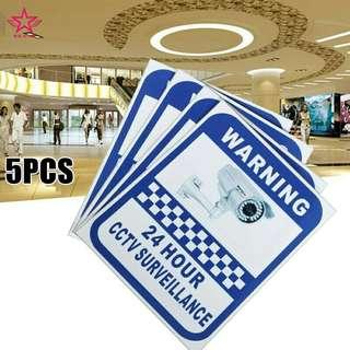 CCTV Security Surveillance Camera Adhesive Sticker Sign Warning Vinyl Decal