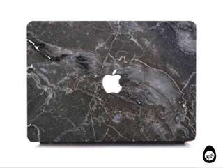 🚚 Dark Grey Marble / Granite Macbook Hard cover case with logo cut out