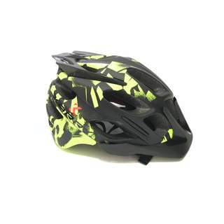 💯🆕KARRY Outdoor Bike Bicycle Riding Helmet with integrated safety warning light for cyclists/scooter users (Black with Green)