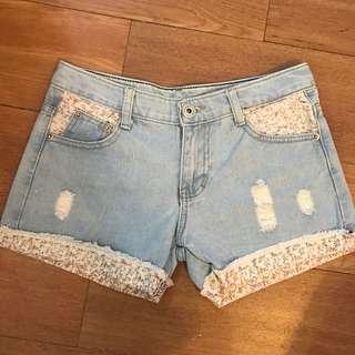 korean floral denim shorts