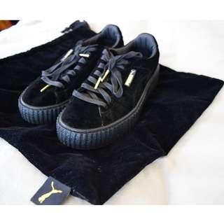 Suede Black Fenty Pumas + Sneaker Bag