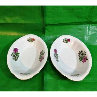 Vintage Bunga Kangkong boat type soup bowl 2 pieces, in mint condition