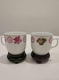 70-80年代 醴陵貼花 四季丰收有耳杯 茶杯兩隻