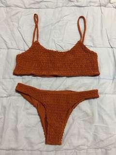 Ruffled Orange Bikini