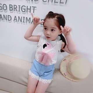 🚚 韓版 春夏新款 女童荷葉袖天鵝雪紡背心小公主上衣