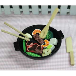 Wooden Stir Fry Toy Food Play Slicing Toy