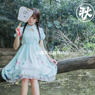 【蘿莉塔雜物坊】戲魚 中華風 清涼 薄荷 套裝 漢風 盤釦 淡雅 印花 仙女 清新