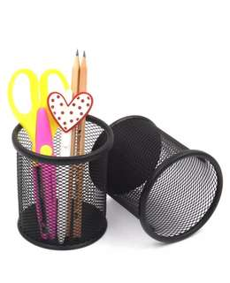Black Round Steel Mesh Pen Pencil Holder for Home and Office