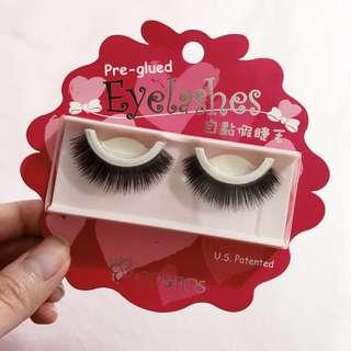 Pre-glued eyelashes.