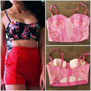 Pink Cropped Corset 💟💗💖 (street fashion)