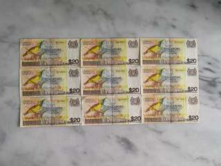 Singapore bird series $20 currency note (1 pc)币