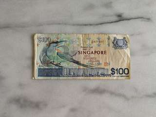 Singapore bird series $100 currency note纸币
