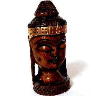 Wooden artistic Buddha head in solid wood