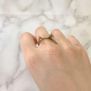 MADE IN KOREA Initial R Gold Cat Cute Ring 英文字母貓貓戒指