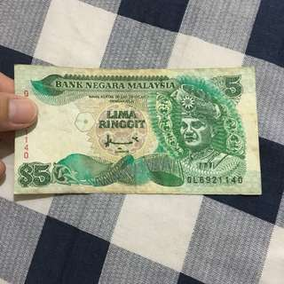 RM5 old notes malaysia
