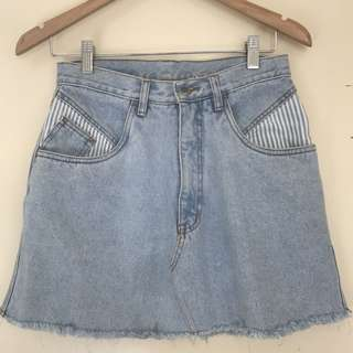 Vintage light denim skirt