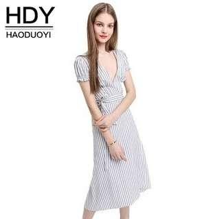 Haoduoyi Deep V-Neck Striped Dress (M)
